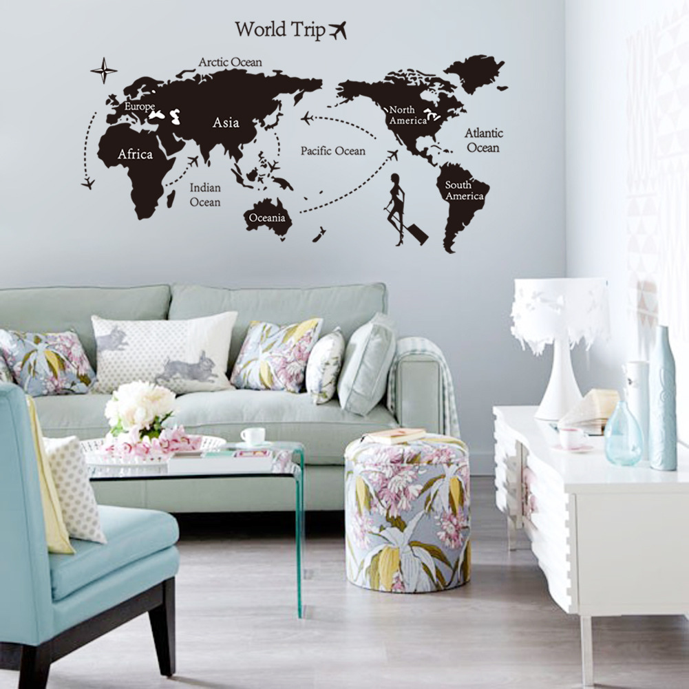 Wall sticker world travel trip map being a traveler wall sticker world travel trip map amipublicfo Image collections
